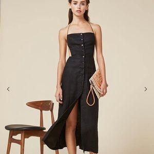 Reformation Black Manon Button Down Dress